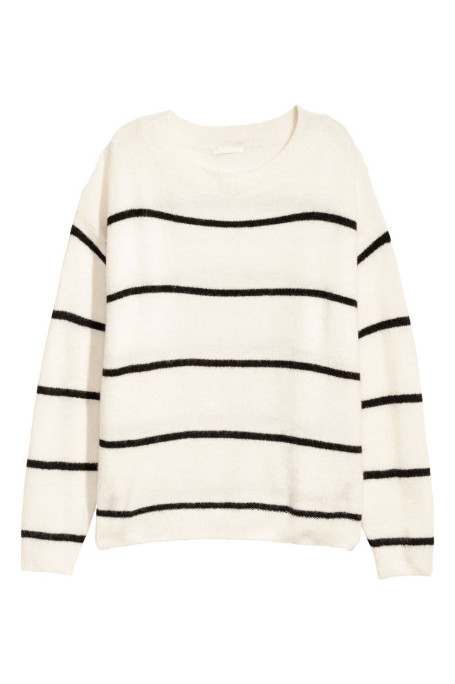 59fd7127deac Fine-knit Sweater - White/black striped - Ladies | H&M ...
