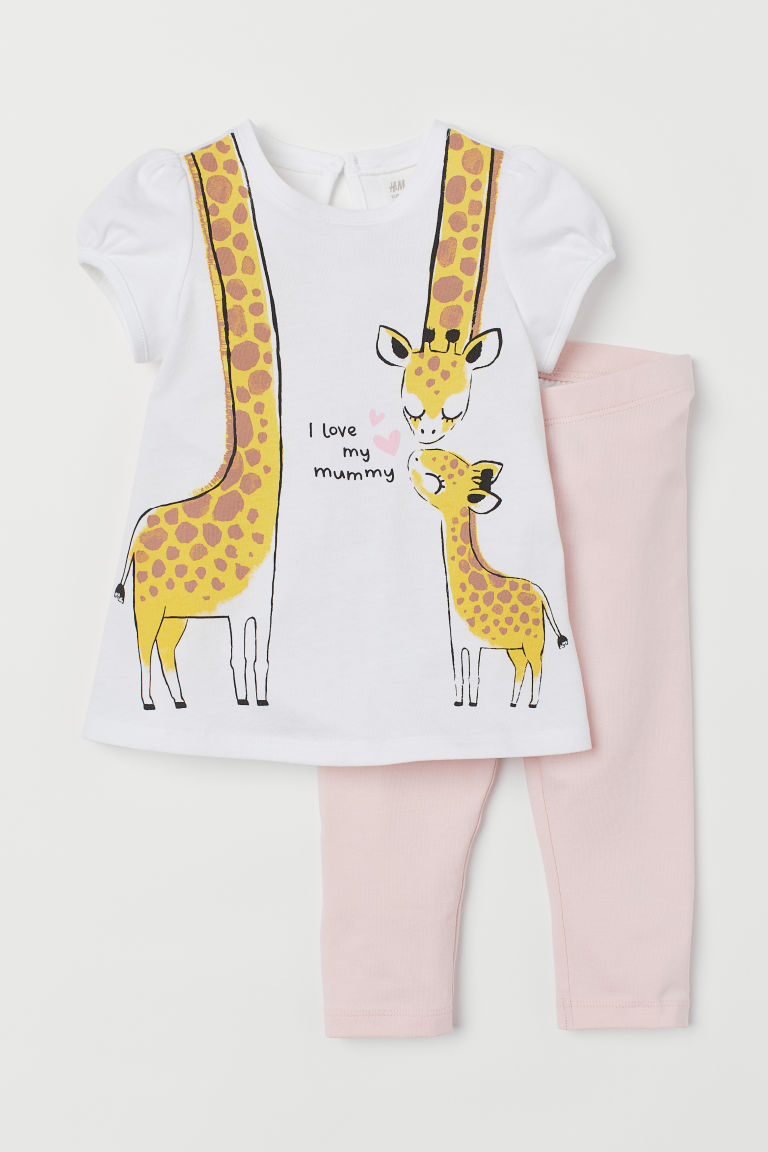 T-shirt e leggings - Bianco/giraffe -  | H&M IT
