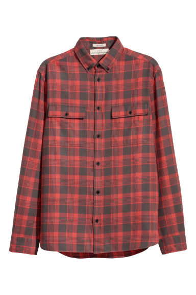 Flannel shirt Regular fit - Red/Checked - Men | H&M