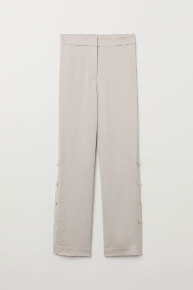 Wide trousers with buttons - Light beige - Ladies | H&M