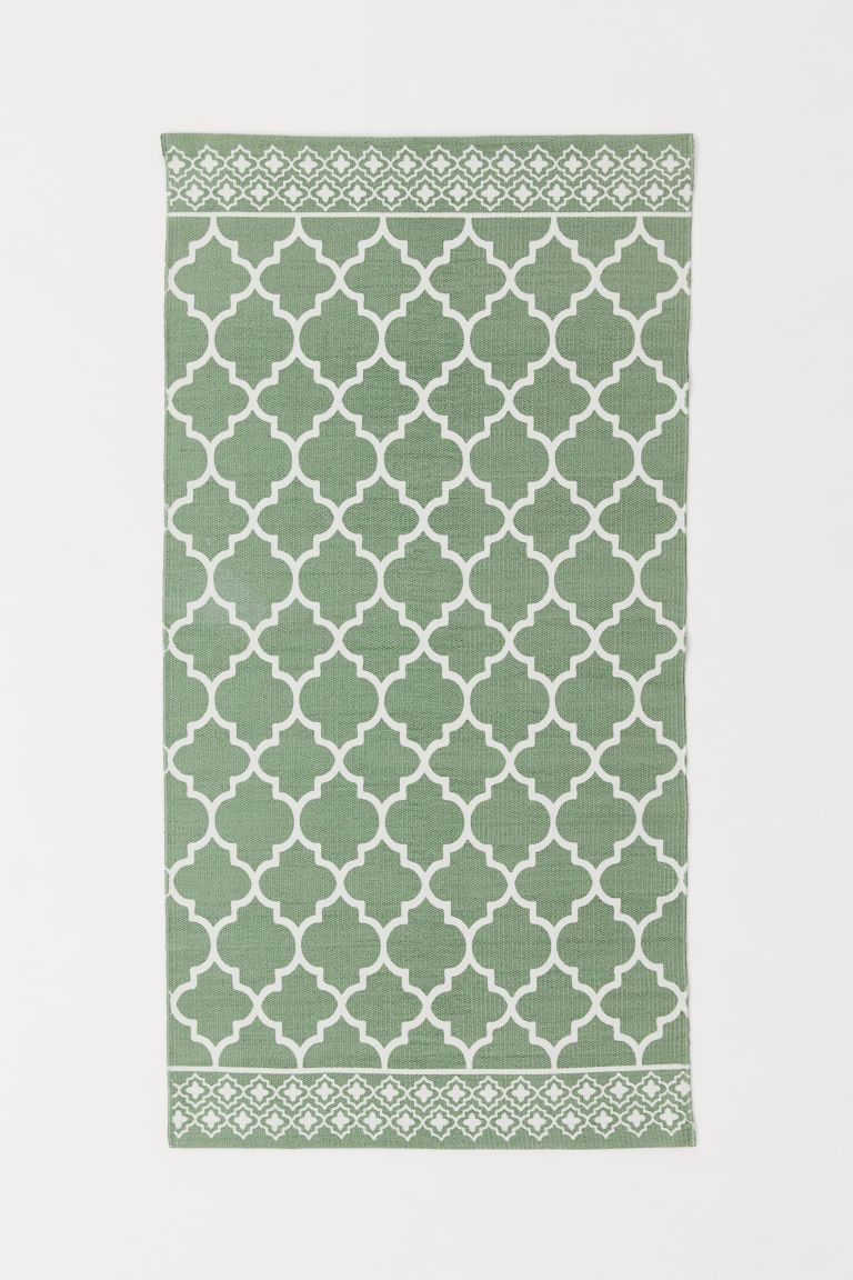 Patterned cotton rug - Green - Home All | H&M CN