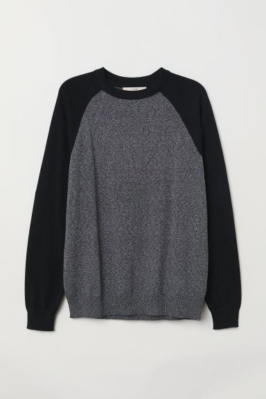 Block-patterned jumper - Black/Dark grey marl - Men | H&M