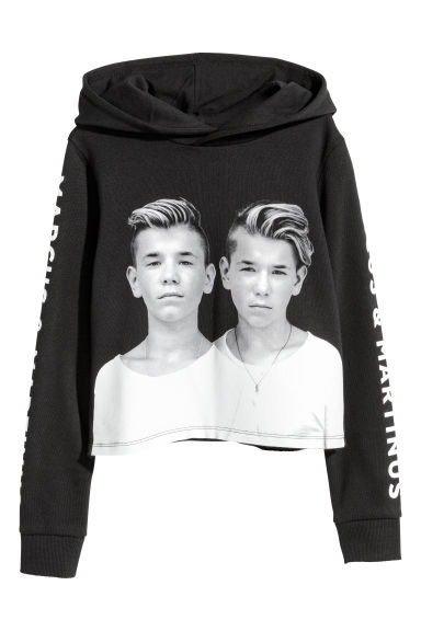 Printed cropped hooded top - Black/Marcus & Martinus - Kids | H&M CN