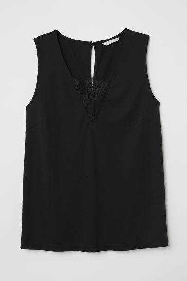 Top con pizzo - Nero - DONNA | H&M IT