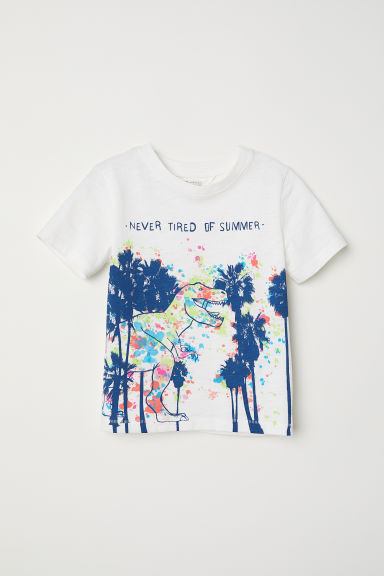 Printed T-shirt - White/Dinosaur - Kids | H&M