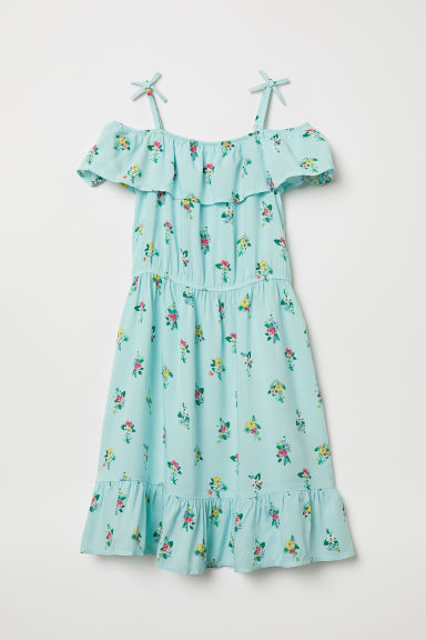 Cold shoulder dress - Turquoise/Floral - Kids | H&M CN