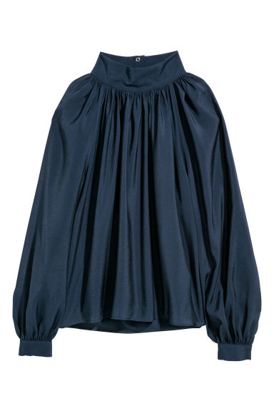 Balloon-sleeved blouse - Dark blue -  | H&M GB