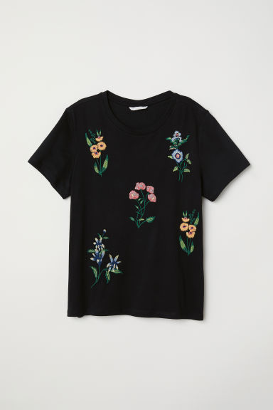 Appliquéd T-shirt - Black - Ladies | H&M