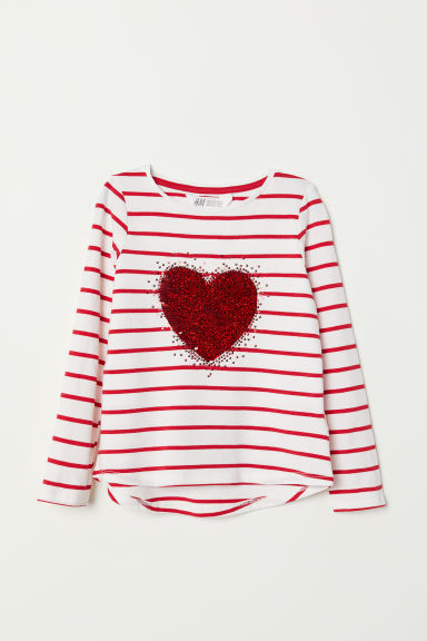 Jersey top with sequined motif - White/Striped - Kids | H&M