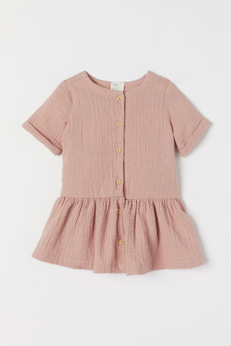 Double-weave Cotton Dress - Powder pink - Kids | H&M US