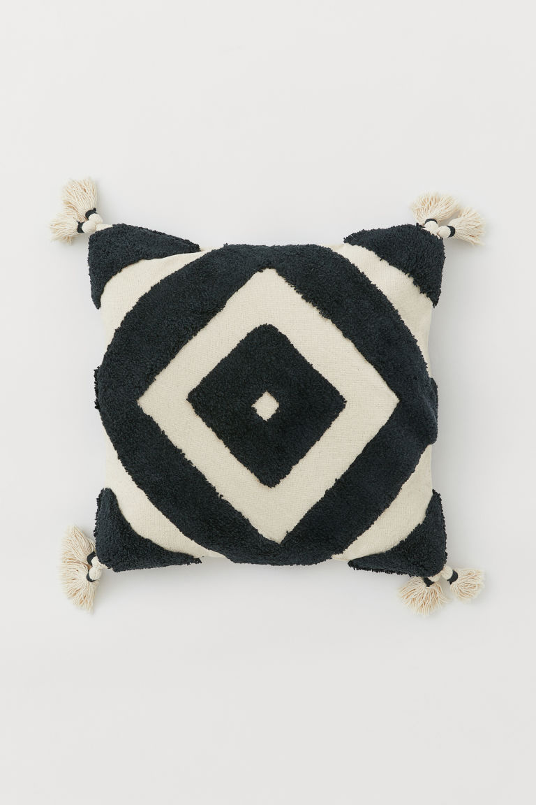 Cushion cover with tassels - Light beige/Anthracite grey -  | H&M CN
