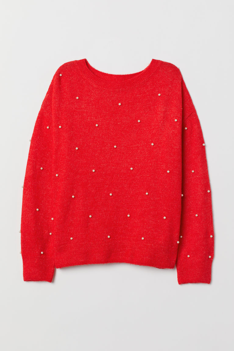 Fine-knit jumper - Bright red - Ladies | H&M