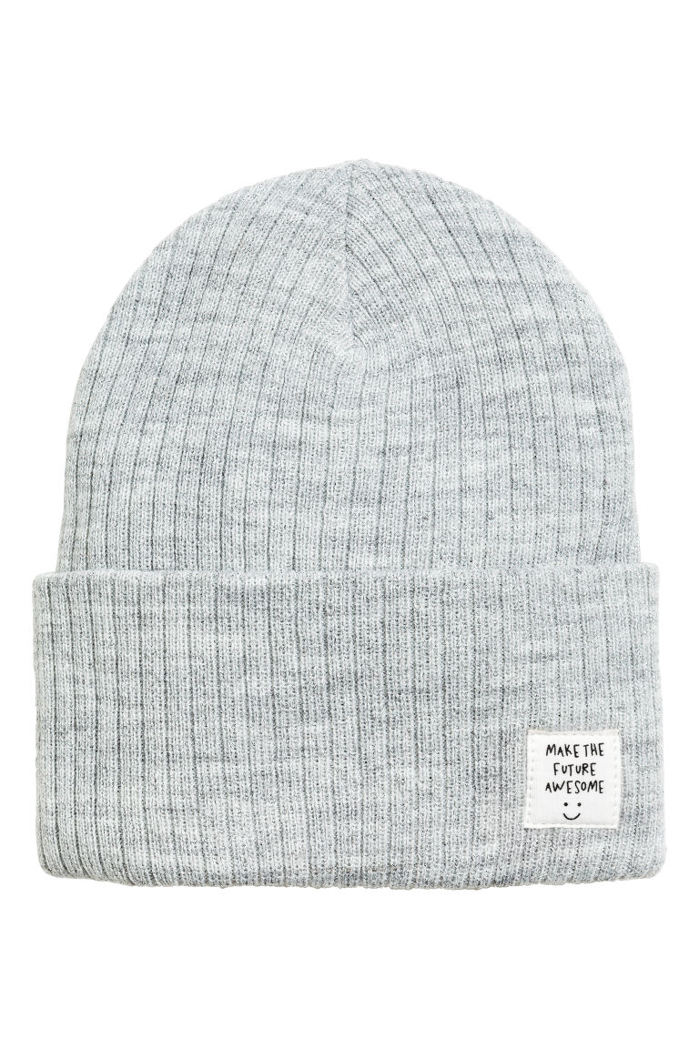 Rib-knit hat - Light grey marl/Glittery - Kids | H&M