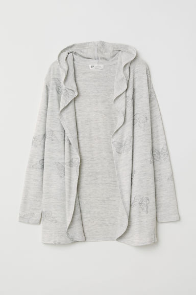 Glittery cardigan - Light grey marl/Butterflies - Kids | H&M