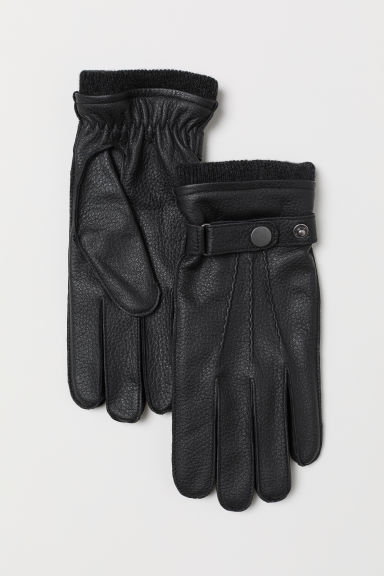 Leather gloves - Black -  | H&M GB