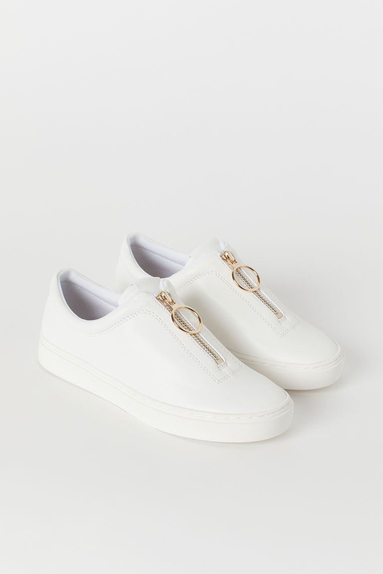 Trainers with a zip - White - Ladies | H&M CN