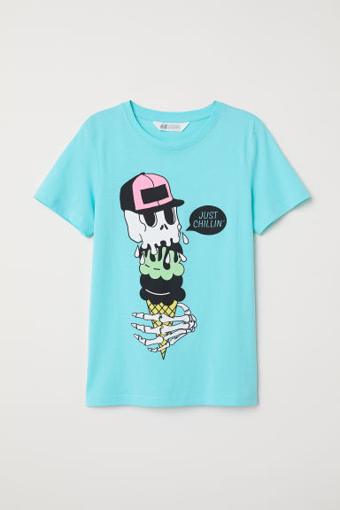 T-shirt con stampa - Turchese - BAMBINO | H&M IT