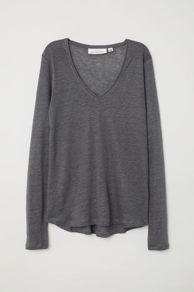 Linen top - Dark grey - Ladies | H&M
