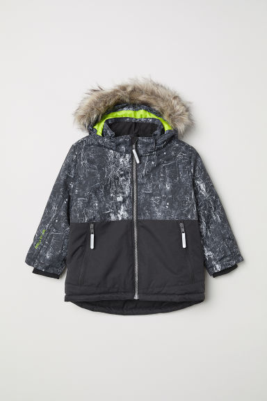 Waterproof padded jacket - Black/Patterned - Kids | H&M IN