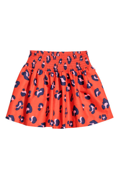 Cotton skirt with smocking - Red/Leopard print -  | H&M CN