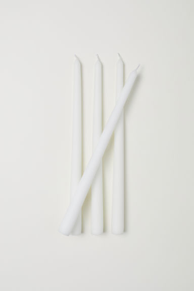 4-pack tapered candles - White - Home All | H&M IE