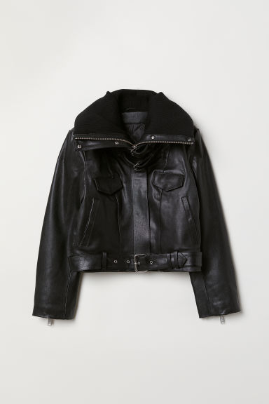 Padded-collar leather jacket - Black -  | H&M