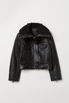 Padded-collar leather jacket