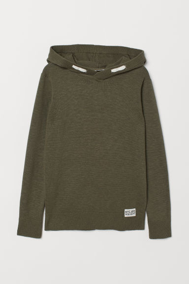 Fine-knit hooded jumper - Khaki green - Kids | H&M