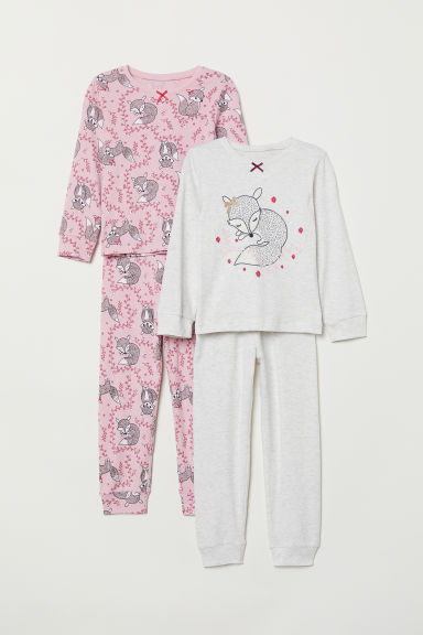 2-pack jersey pyjamas - Pink/Fox - Kids | H&M