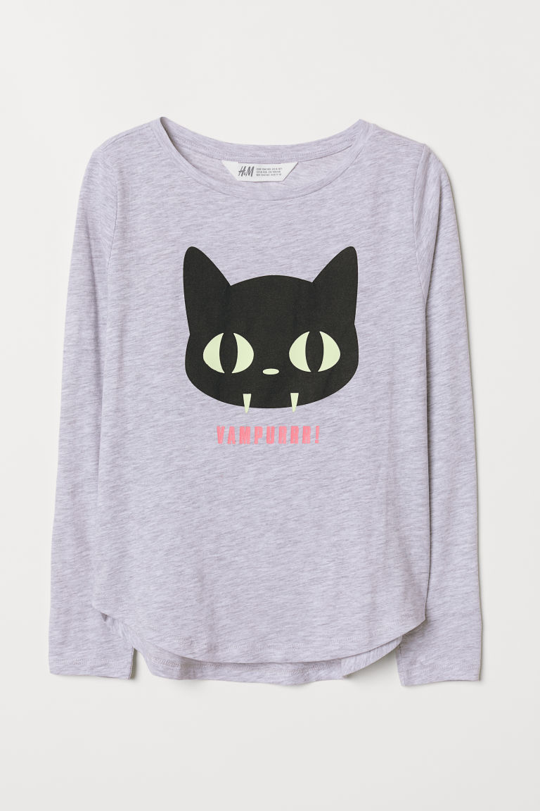 Printed top - Light grey marl/Vampurr - Kids | H&M