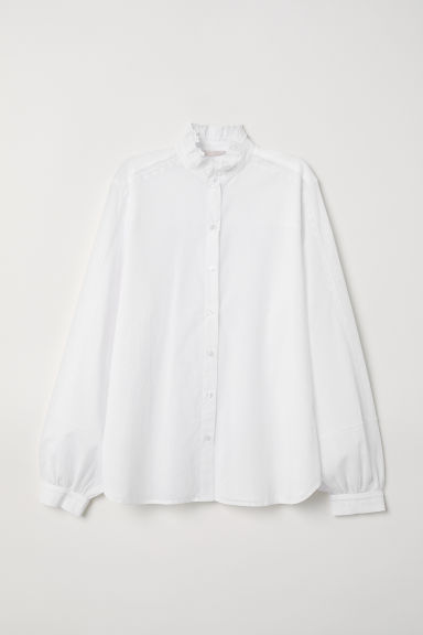 Cotton blouse with embroidery - White - Ladies | H&M CN