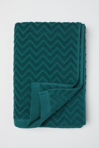 Jacquard-patterned Bath Towel - Dark green - Home All | H&M CA
