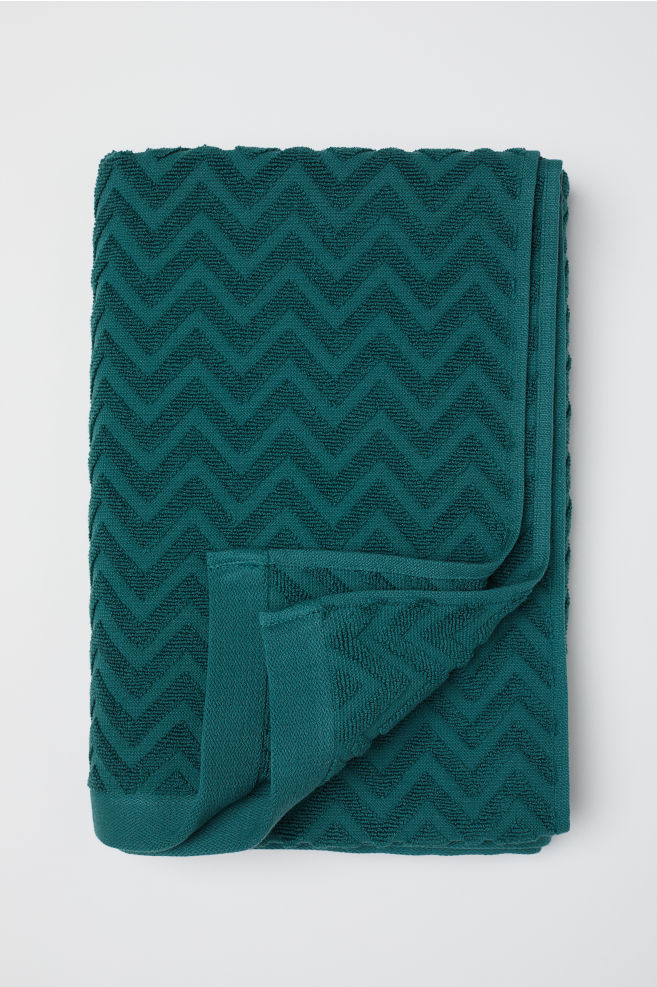 Jacquard Patterned Bath Towel Dark Green Home All H M