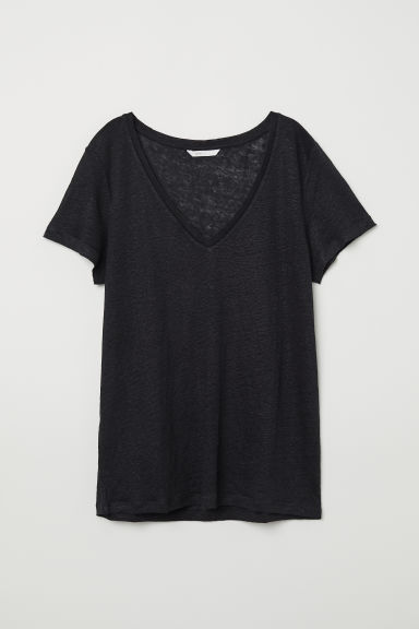 Linen top - Black - Ladies | H&M CN