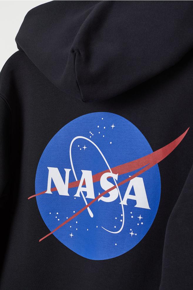 65d1dba7bb Kapucnis felső motívummal - Fekete/NASA - FÉRFI | H&M ...