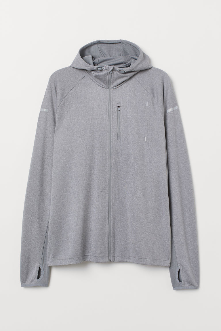 Hooded running jacket - Grey marl -  | H&M
