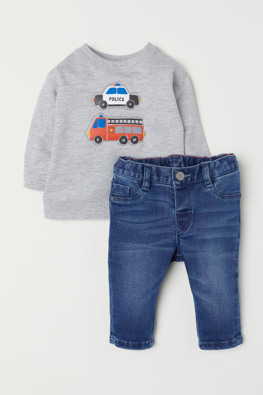 Top and jeggings - Light grey marl - Kids | H&M