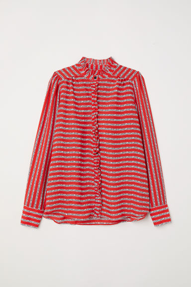 Blouse with a frilled collar - Red/Patterned - Ladies | H&M