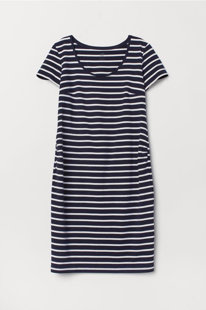 83d87b4809f ... MAMA Tricot jurk - Donkerblauw/gestreept - DAMES | H&M ...