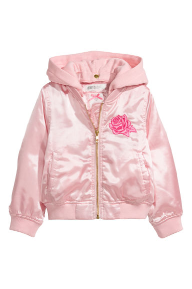 Satin bomber jacket - Light pink - Kids | H&M CN
