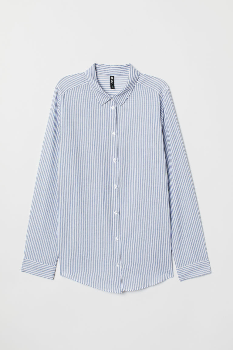 Cotton Shirt - Blue/white striped -  | H&M CA