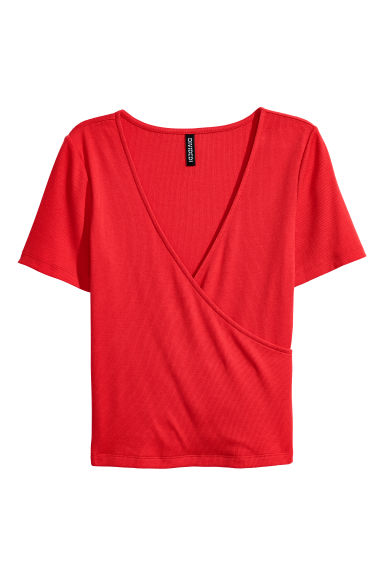 Ribbed wrapover top - Bright red - Ladies | H&M CN
