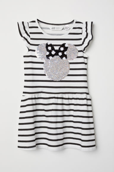 Jersey dress with sequins - White/Minnie Mouse - Kids | H&M CN