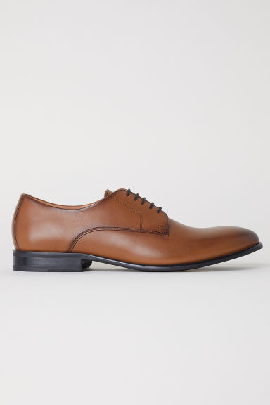 Leather Derby shoes - Cognac brown - Men | H&M