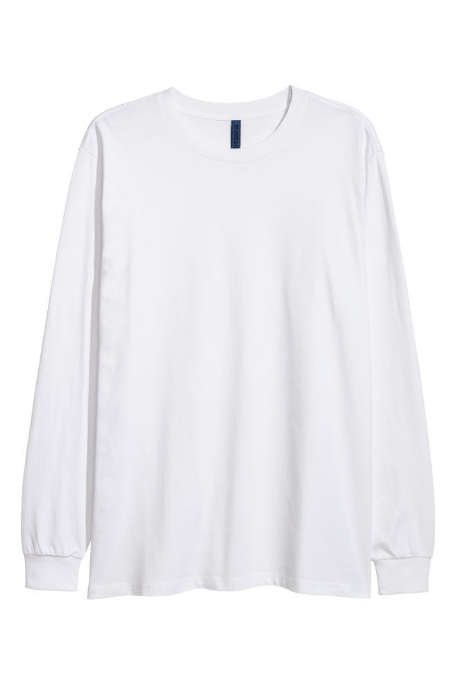 838fbe5423731 T-shirt à manches longues - Blanc - HOMME | H&M ...