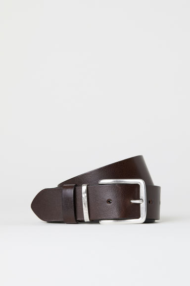 Leather belt - Dark brown - Men | H&M GB