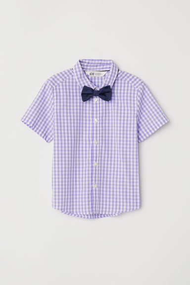 Shirt with a tie/bow tie - Purple checked/Bow tie - Kids | H&M