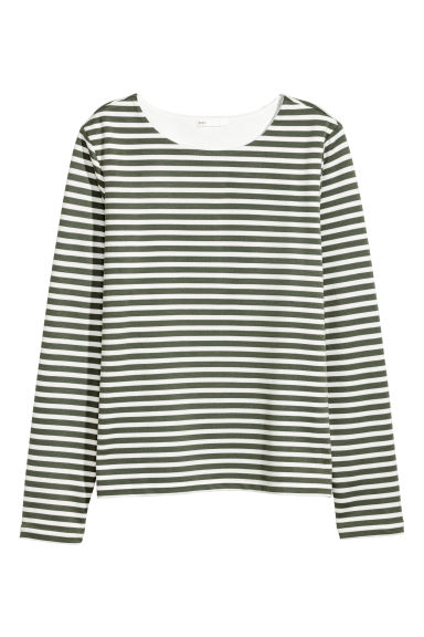 Long-sleeved jersey top - White/Green striped - Ladies | H&M