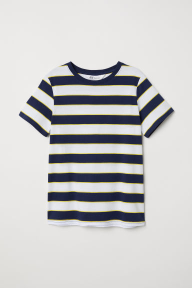 Printed T-shirt - White/Blue striped - Kids | H&M