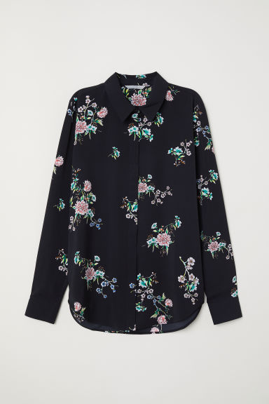 Long-sleeved blouse - Black/Floral - Ladies | H&M